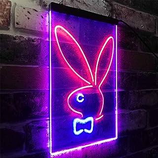 Zusme Bunny Rabbit Kid Room - Decoración LED de neón para exteriores, 20 cm x 30 cm
