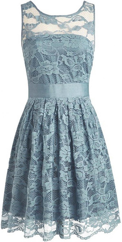 AK Beauty Women's Lace Sleeveless Mini Prom Gown