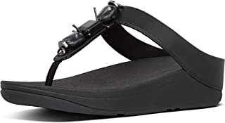 Fit Flop Fino Marble Gem Toe Thong Women's Sandals, All Black, 10 US