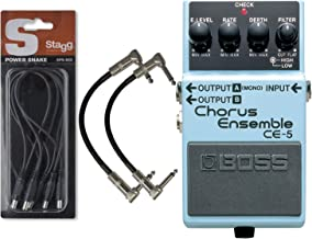 BOSS CE5 Stereo Chorus Ensemble Pedal with Daisy Chain Power Cable and 2 Patch Cables