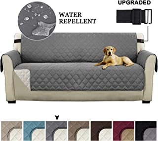 Turquoize Reversible Sofa Slipcover Couch Cover for Living Room Seat Width Up to 78 Extra Large Couch Covers Non Slip Cover for Pets Kids Sofa Cover with 2 Elastic Straps (XL Sofa, Gray/Beige)