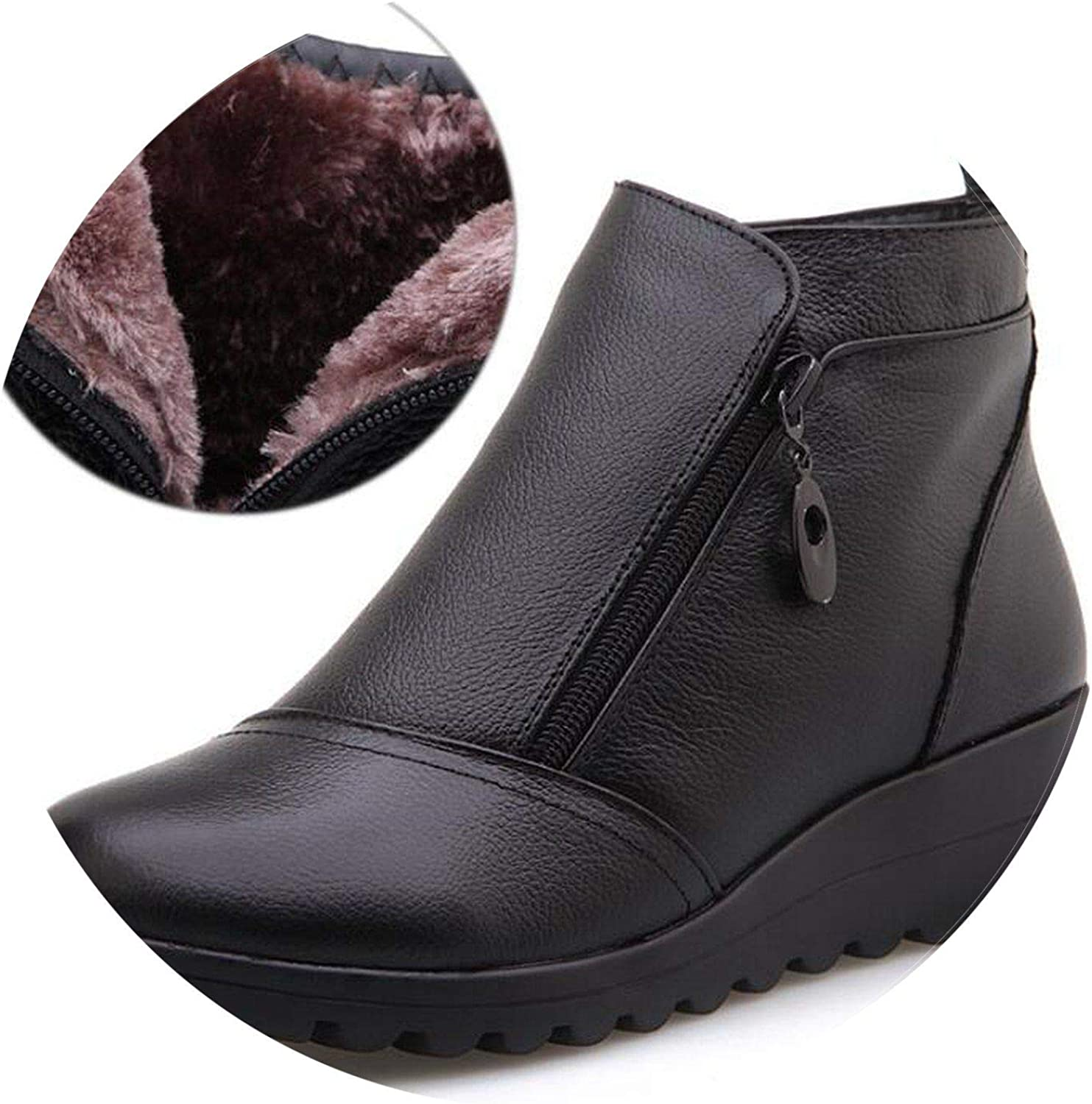 Summer-lavender Genuine Leather Snow Boots Women Comfortable Wedges Ankle Boots Round Toe Keep Warm Winter shoes