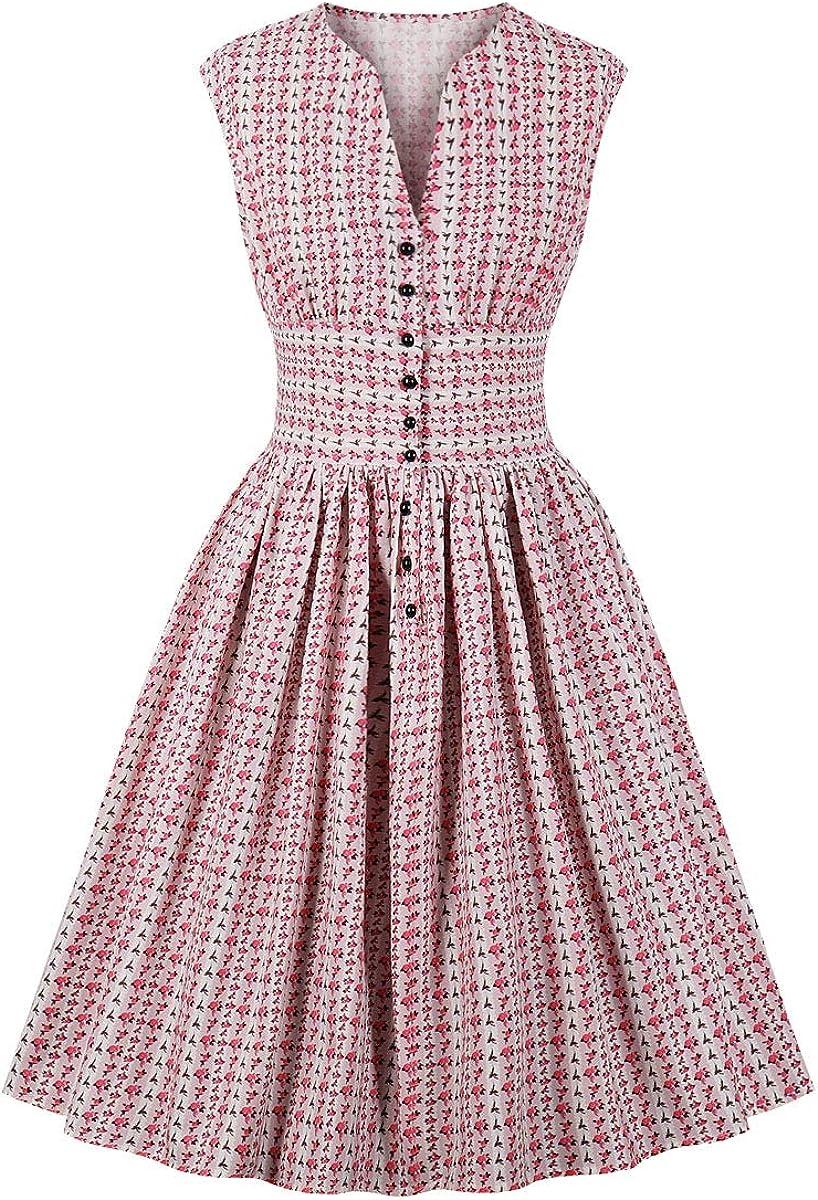 1950s Dresses, 50s Dresses | 1950s Style Dresses Wellwits Womens Split Neck Floral Button 1940s Day 1950s Vintage Tea Dress $24.98 AT vintagedancer.com