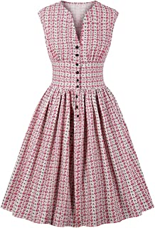 Wellwits Women's Split Neck Floral Button 1940s Day 1950s Vintage Tea Dress