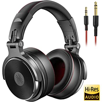 OneOdio Over Ear Studio Kopfhörer mit Kabel, Mikrofon, Share-Port, Protein-Leder-Ohrmuscheln für DJ, Podcast, Recording, AMP, PC, TV, Adapter-Frei Geschlossene HiFi Headphones Headset Schwarz