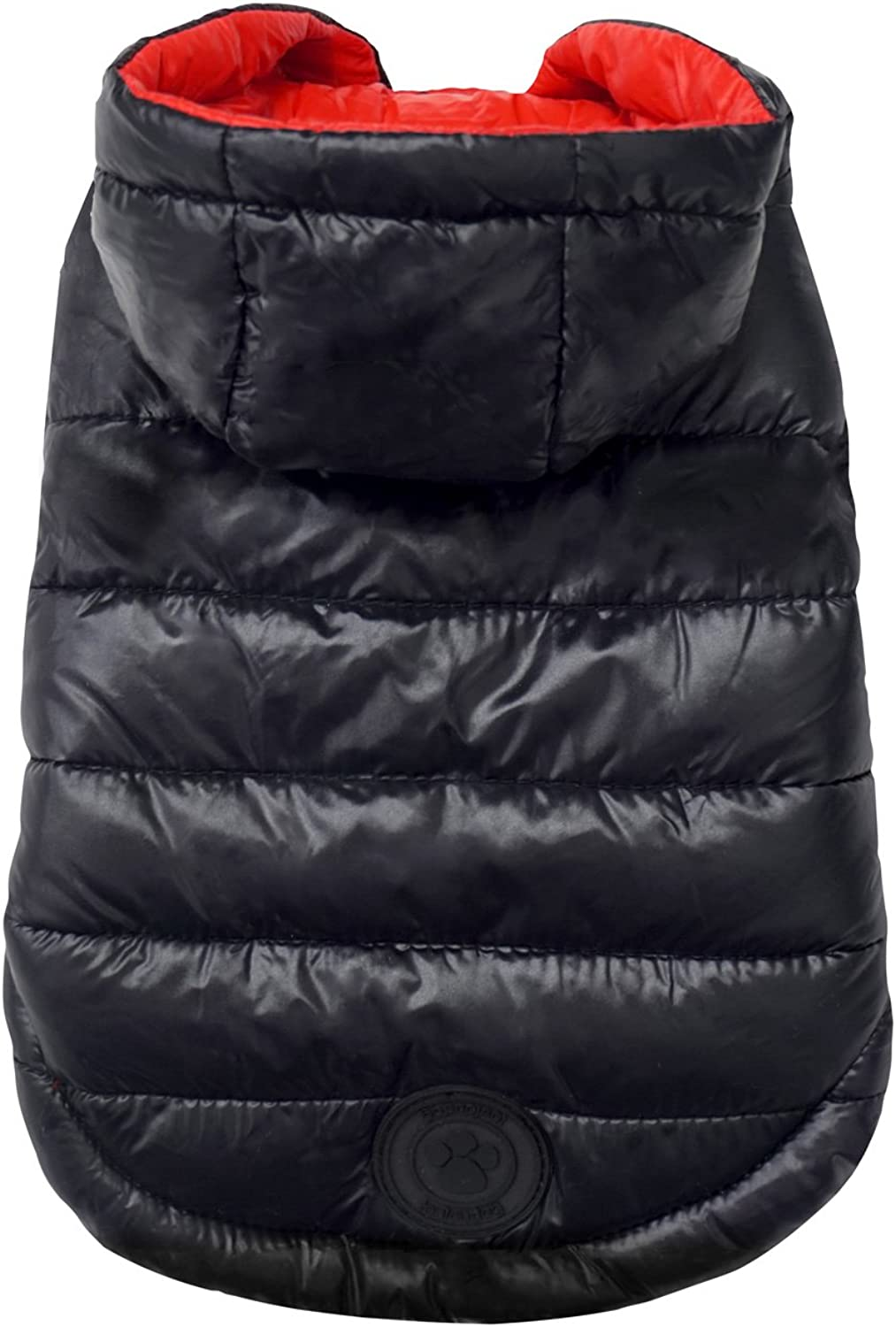 FouFou Dog Reversible Puffer Coat for Dogs with Travel Pouch, XSmall, Red Black