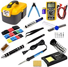 Ziss Soldering Iron Tool Kit Electronics Adjustable Temperature Welding Tool With Digital Multimeter 5pcs Soldering Tips a...