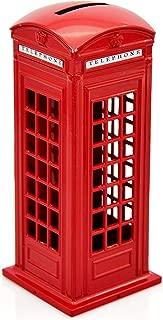 Cafurty Telephone Piggy Bank, Red Metal London Street Telephone Booth Piggy Bank Coin Bank Coin Box - (6