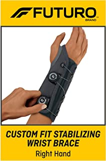 Futuro Futuro Custom Fit Stabilizing Wrist Brace, Right Hand, One Size, Gray, Adjustable (70005177798)