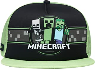 Minecraft Boys Creeper Face Hat - Black and Green Youth Snap Back Hat