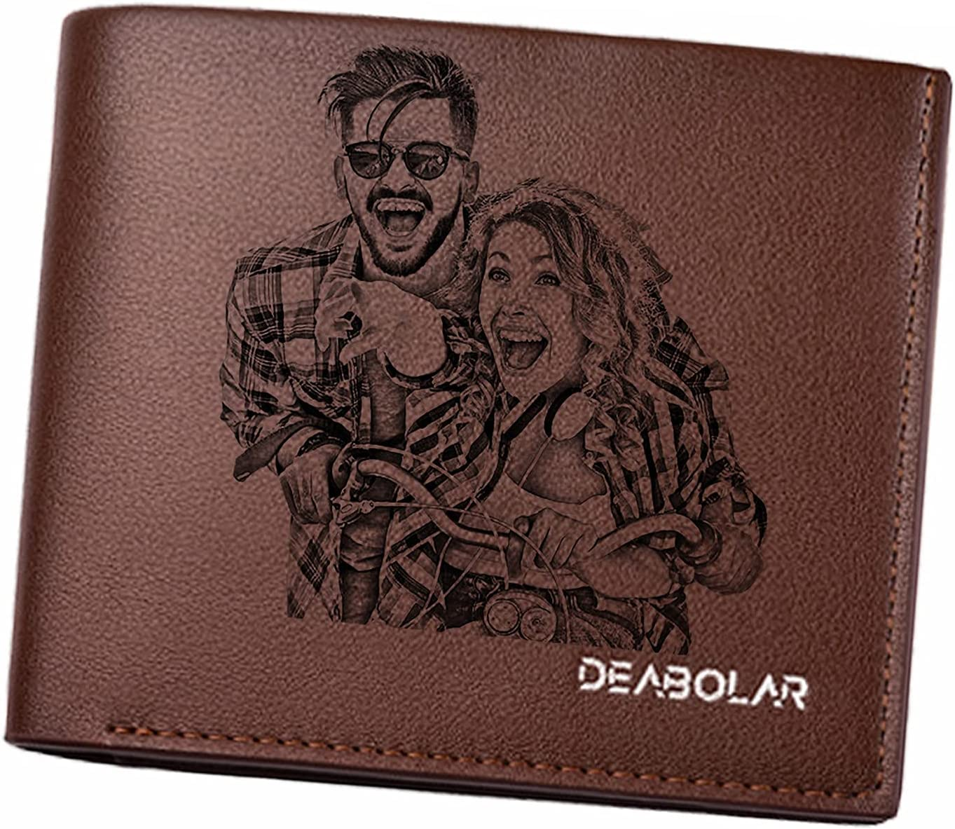 Custom Engraved Wallets Personalized Photo Leather Wallet Commemorative wallet for father, husband, son, friend, best man, BF