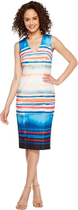 Washed Watercolor Stripe V-Neck Sheath Dress