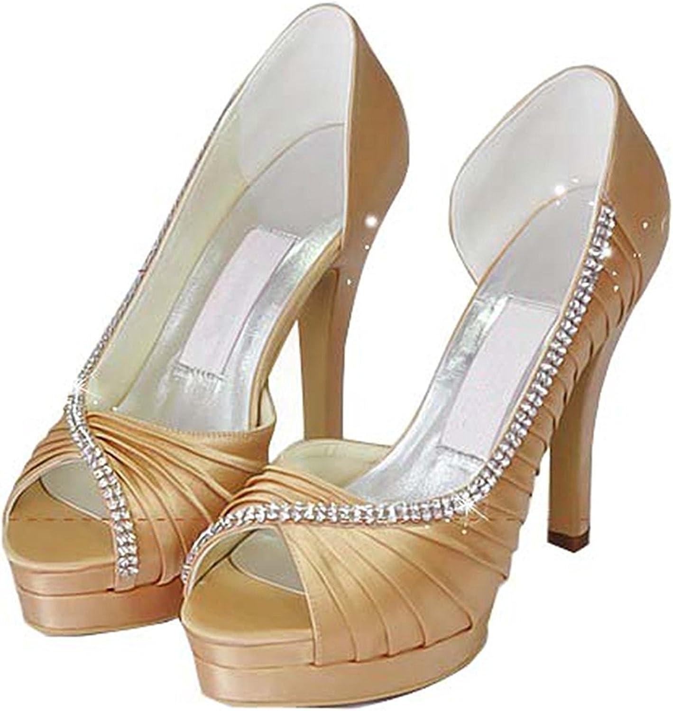 Laolaooo shoes Womens Pleated Satin Bridal Wedding Evening Prom Sandals