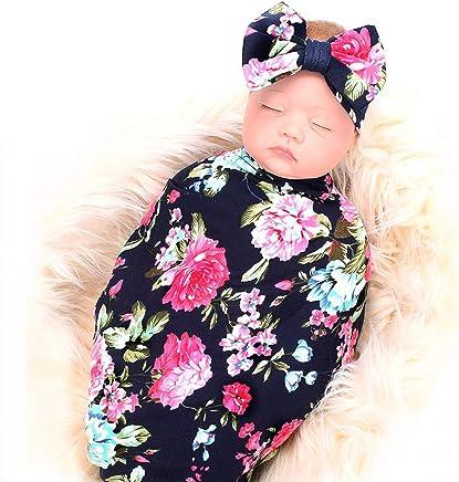 Galabloomer Manta para recién nacido con tocado, diseño de flores, para bebés