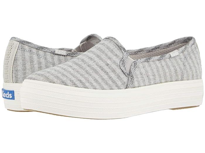 Keds  Triple Decker Subtle Chambray Stripe (Light Gray) Womens Shoes