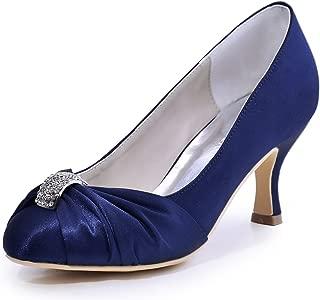 Women Pumps Mid Heel Closed Toe Brooch Ruched Satin...