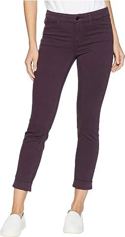 Anja Mid-Rise cuffed Crop Jeans in Aubergine