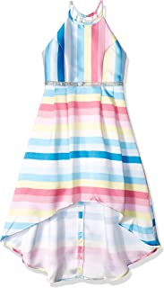 Amy Byer Girls' Big Sleeveless Party Dress with High-Low Hemline
