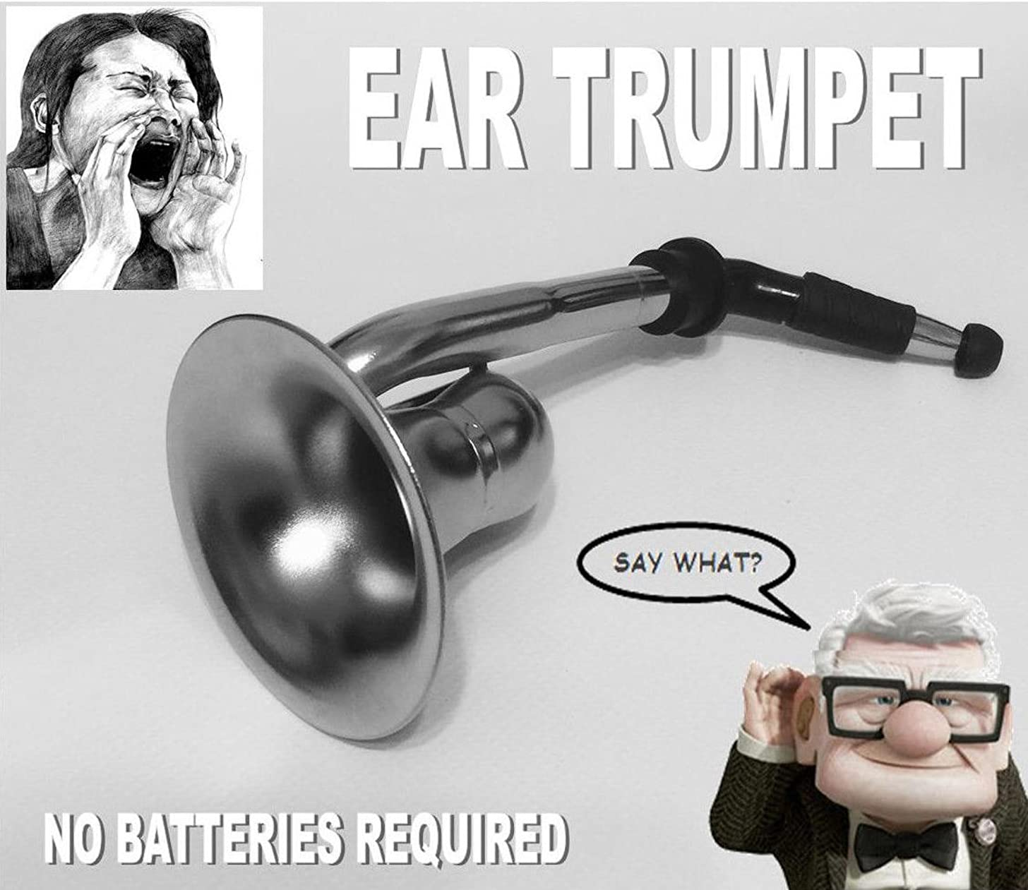 Say What? Ear Trumpet Horn for The Hard of Hearing Crowd.Great Party Gag Gift!