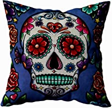 Musesh Sugar Skull Pillow Cushions Case Throw Pillow Cover for Sofa Home Decorative Pillowslip Gift Ideas Household Pillowcase Zippered Pillow Covers 16X16Inch