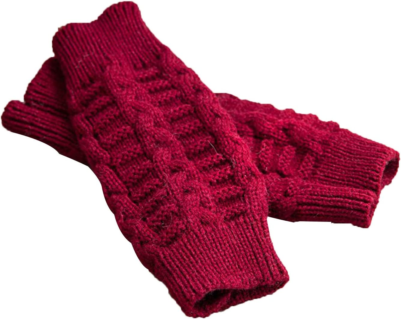 Gloves Knitted Gloves Winter, Warm Cable Knitted Fingerless Gloves, Thumb Control Mittens (Color : Red)