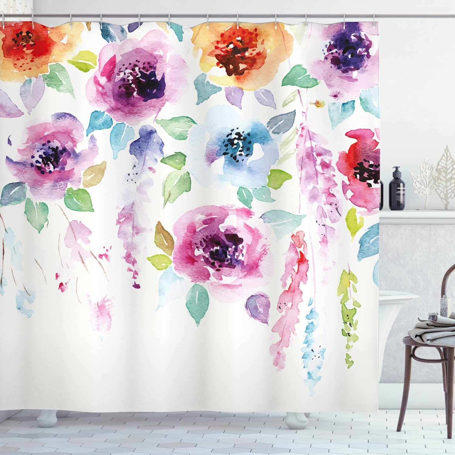 Ambesonne Abstract Shower Curtain, Modern Design of Watercolor S