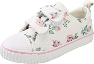 Alexis Leroy Girl's Flower Print Low-Top Velcro Canvas Trainer Shoes