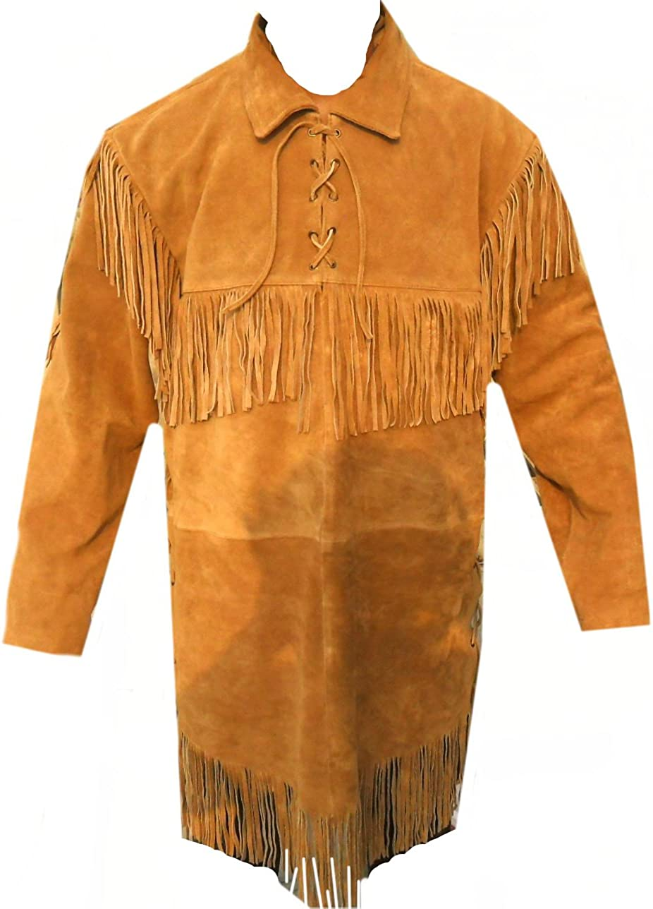 Classyak Western Leather Long Coat Fringed, Premiere Suede Leather Xs-5xl