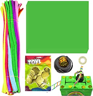 XWT St Patricks Day Decorations DIY to Catch a Leprechaun Trap Set for Kids Party Supplies Gifts Include 10Pcs Green A4 Pa...