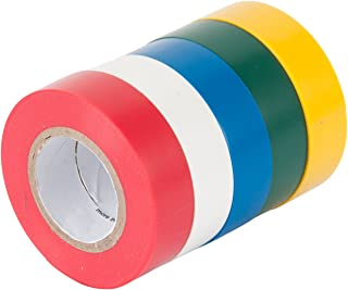 Gardner Bender GTPC-550 Electrical Tape, ½ in x 20 ft., Durable, Easy-Wrap, Flame Retardant, 5 Pk, Red, White, Blue, Green, Yellow