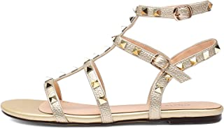 TZAMCW Womens Flat Sandals Slipper,Open Toe Studded Mules Sandals Chunky Block Heel and Stud Strappy Pumps Shoes