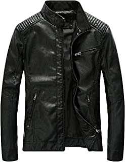 Youhan Men's Casual Zip Up Slim Bomber Faux Leather Jacket