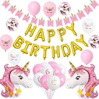 OLIVILO Unicorn Birthday Party Supplies 40 Pieces Pink Unicorn Balloons Unicorn Birthday Decorations Set for Girls Birthday Bunting Happy Birthday Banner Giant Unicorn Balloon Kids Unicorn Party Favors
