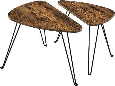 VASAGLE Lot de 2 Tables d'appoint, Tables gigognes, Tables basses, pour salon, salle à manger, chambre, style industriel, Mar