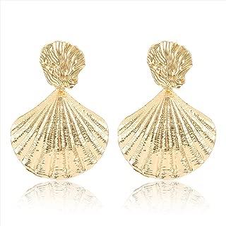 Seashell Earrings Statement Gold Metal Mermaid Scallop Sea Shell Drop Earrings Beach Jewlery