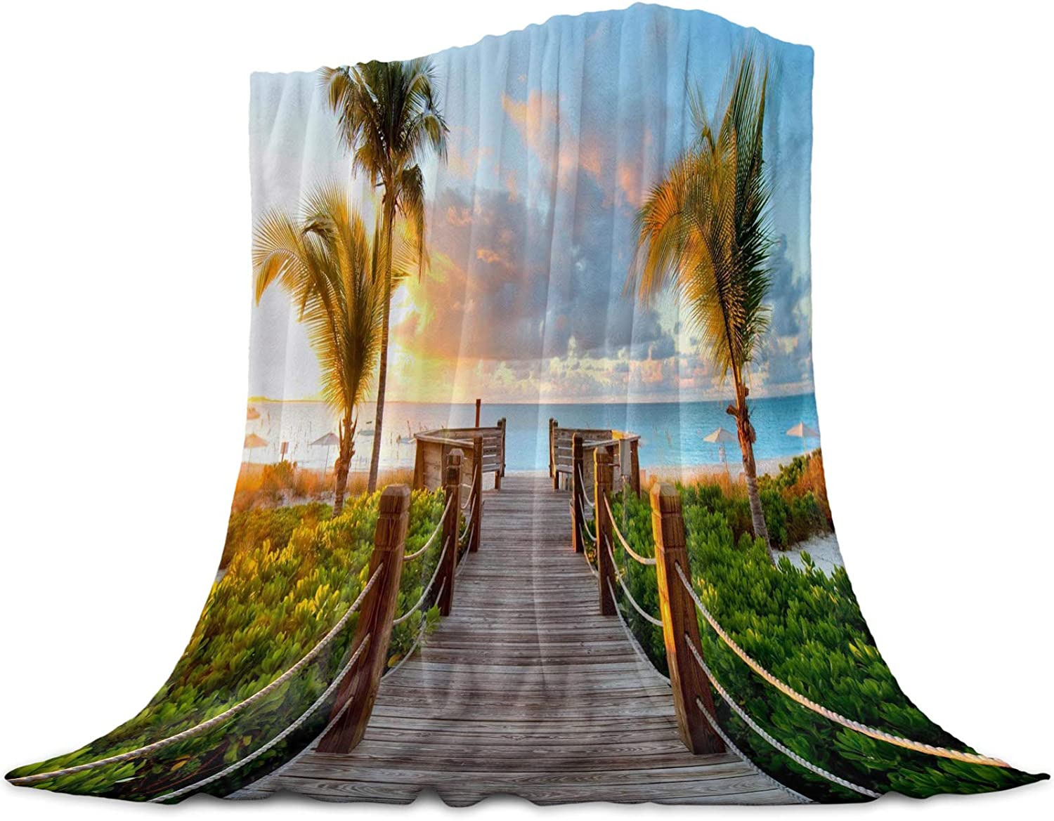 Throw Blanket for Bed Couch Seasonal Wrap Introduction 59 79 Retro Inche Alternative dealer x Seaside Tropical
