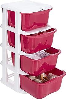 Amazon Brand - Solimo Plastic Multipurpose Modular Drawer, 4 Racks, Pink