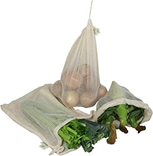 Simple Ecology Reusable Produce Shopping and Storage Bags, Drawstring, Washable Organic Cotton Mesh, X Large 3 pack