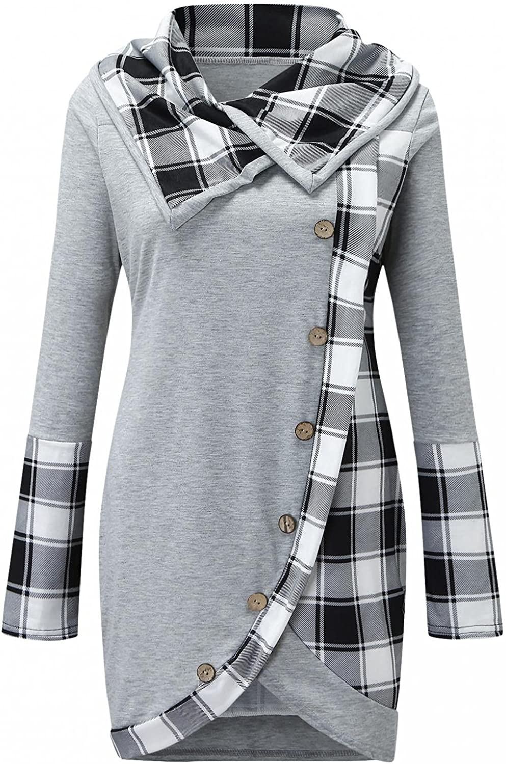 Long Sleeve Shirts for Women,Turn Down Collar Button Plaid Patchwork Sweatshirts Blouse Fashion Jumper Pullovers