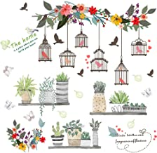 SuzSan Birdcage Flowers Wall Stickers Spring Green Potted Plant Decals Home Decor kit
