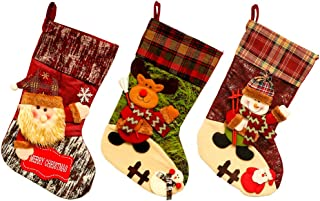DD CYUE Christmas Stocking Personalised Kits 3 Pcs18 inches 3D Burlap with Large Plaid Snowflake and Plush Faux Fur Cuff Stockings