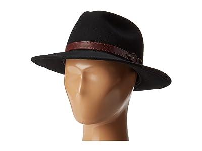 Country Gentleman Dunmore Classic Wool Fedora Hat (Black) Caps