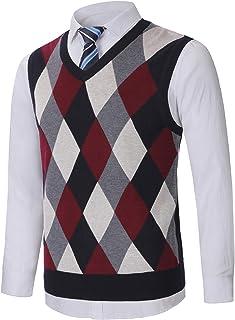KTWOLEN Mens Argyle Sweater Vest V-Neck Sleeveless Jumper Vest Knitted Gilet Slipover Gentleman Knitwear Waistcoat