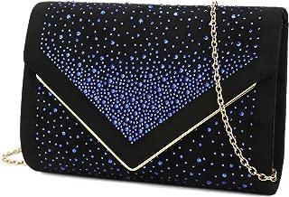 Envelope Purse Formal Faux Suede Clutch Rhinestone Evening Bag for Women Party Handbag