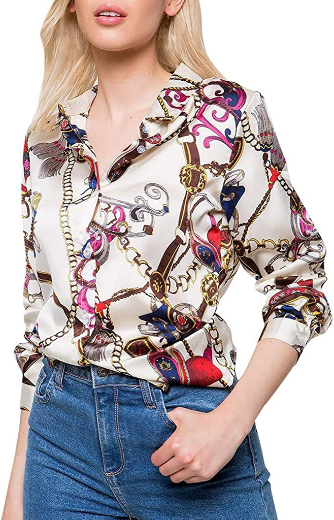 NREALY Tops Womens Long Sleeve Chains Print Ladies Casual Shirt Tops V Neck Blouse Tee