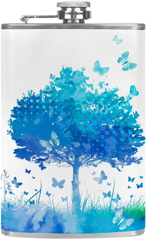 Petacas de Alcohol Mariposa y árbol azul Petacas de Licor Acero Inoxidable 227ml Frasco de Whisky Botella de bolsillo Con embudo 9.2x15cm