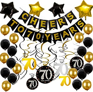 70th Birthday Party Supplies Black and Gold Balloons Gold Glittery Cheers to 70 Years Banner Sparkling Celebration 70 Hanging Swirls 70th Anniversary Decorations