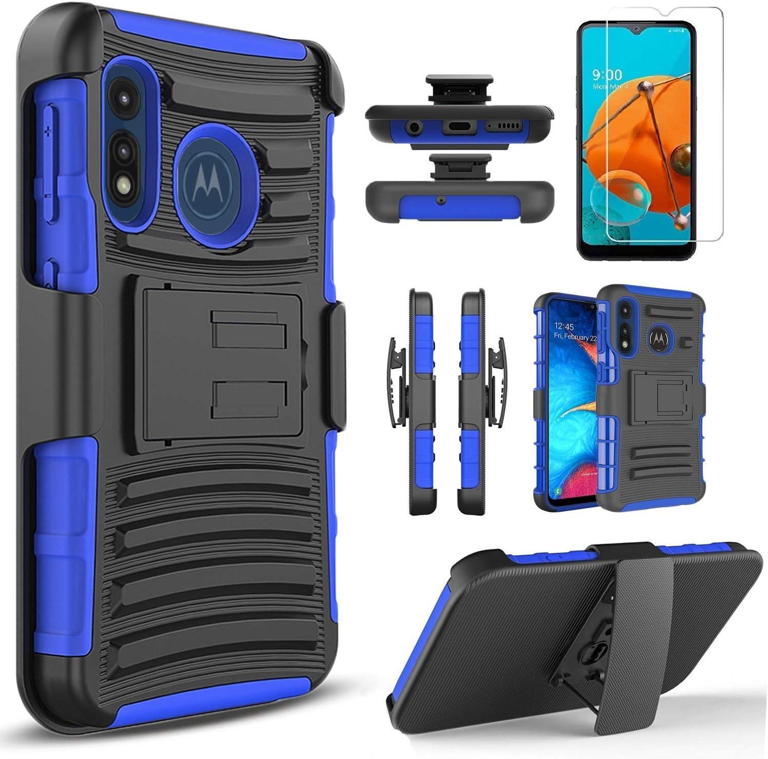 Circlemalls- Moto E Phone Case, Motorola Moto E 2020 Case, [NOT FIT Moto E6/E5/E4/E2] With [Tempered Glass Screen Protector Included], Armor Heavy Duty Kickstand Cover With Belt Clip Holster - Blue