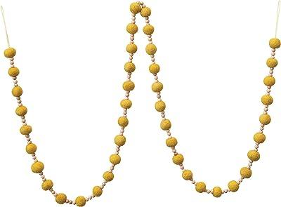 "Creative Co-Op 72"" L Wool Felt Ball & Wood Bead, Mustard Color Textile Garlands, Multi"