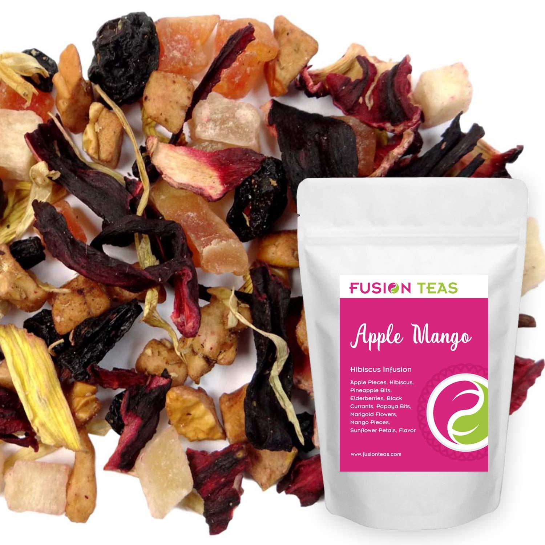 Apple Mango Hibiscus Herbal Fruit Tea - Caffeine Free Loose Leaf Bulk Herbs and Flowers - 1 Pound (16 Oz) Pouch